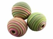 Drevená korálka s fimom TORNÁDO pistáciovo-ružová - 14 mm