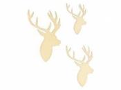 Drevené výrezy - 30 kusov - jeleň profil