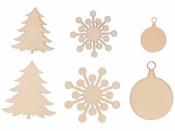 Drevené výrezy - 30 kusov - vianočný mix