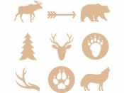 Dýhové výrezy - 27 ks - lesné zvieratká