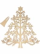 Drevený stromček so stojanom - 30cm - folk
