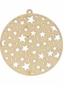 Drevené výrezy 2ks - gule s výrezom hviezd
