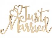 Drevený nápis - Just married