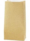 Glitrové papierové vrecúško - 17 cm - zlaté