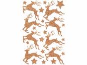 Kreatívne nálepky - jelene medené s glitrami