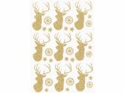 Kreatívne nálepky - jelene zlaté s glitrami