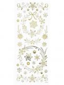 Kreatívne nálepky - vločka a kvety - zlaté