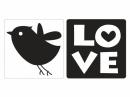 Pečiatka do mydla, sádry -  Love a vtáčik