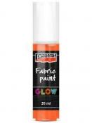 3D Farba na textil svietiaca v tme PENTART GLOW 20 ml - oranžová