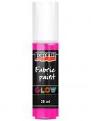 3D Farba na textil svietiaca v tme PENTART GLOW 20 ml - ružová