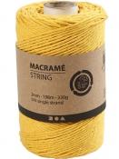 Macramé bavlnený špagát 2 mm - žltý