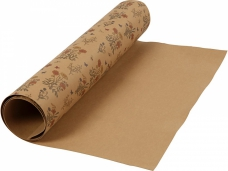Kožený papier 49x100cm - prírodný s kvetmi
