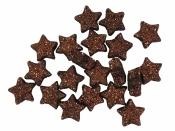 Glitrované mini hviezdičky - 20 kusov - bronzové
