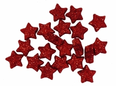 Glitrované mini hviezdičky - 20 kusov - červené