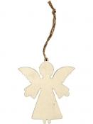 Drevená závesná dekorácia anjel 8 cm - prírodný