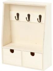 Drevená skrinka na kľúče so šuflíkmi