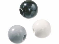 Drevené korálky 12 mm mix - 30 ks - čierne