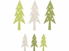 Drevené výrezy - 54 ks - stromčeky