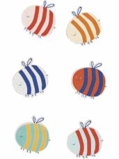 Drevené nálepky - 12 ks - včielky