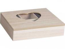 Drevená krabica so srdiečkom - 6 priehradková