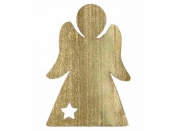 Drevený výrez anjel 4cm - zlatý
