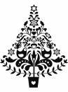 Drevená pečiatka - folk vianočný stromček
