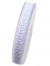 Bavlnená stuha krojená 15 mm kvietky -  biela