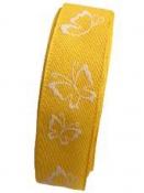 Bavlnená jarná stuha 25 mm s 3D motýľmi - slnečnicová žltá