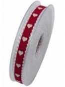Bavlnená stuha krojená 15 mm srdiečka - červená