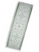 Bavlnená stuha 25 mm mentolová - biele ornamenty