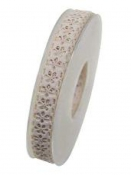 Bavlnená stuha krojená 15 mm kvietky - béžová