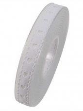 Bavlnená stuha krojená 15 mm srdiečka - biela