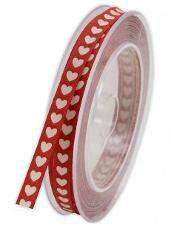 Bavlnená stuha so srdiečkami 1 cm - červená