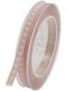 Bavlnená stuha so srdiečkami 1 cm - vintage ružová