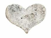 Srdce z brezovej 3 cm - vintage biele