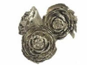Cédrové ruže 3ks - platinové s glitrami