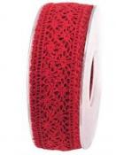 Čipkovaná stuha - čipka 25mm - červená