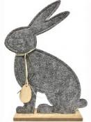 Jarná dekorácia - filcový zajac 32 cm - sivý