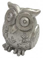 Dekorácia sova 3 x 3 cm - strieborná
