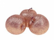 Dekoračné jablko 6 cm s glitrami - ružové zlato