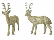 Vianočná ozdoba jeleň - platinovo zlatý gliter