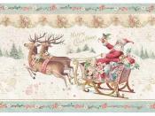 Ryžový papier A4 - ružové vianočné sane