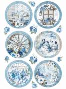Ryžový papier A4 - modré vianočné gule