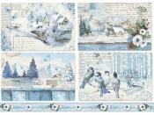 Ryžový papier A4 - zimné krajinky - modré