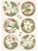 Ryžový papier A4 - vianočné vintage vence