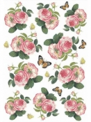 Ryžový papier A4 - ruže a motýle