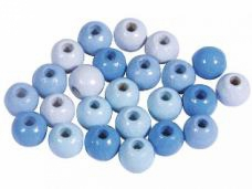 Drevené korálky 6 mm mix - 116ks - modré