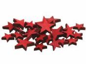 Drevená hviezdička 2cm - karmínová červená