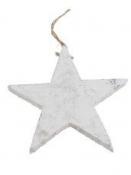 Drevená hviezda 10 cm - biela