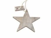 Drevená hviezda so štítkom HAPPY XMAS